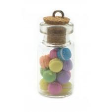 Breloque Fiole en Verre Macarons Gourmandise Fimo 25mm pour la Création de Bijoux Fantaisie - DIY