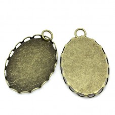 2 Supports Pendentif Bronze avec Anneau pour Cabochon 18x25mm pour la Création de Bijoux Fantaisie - DIY