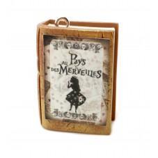 Breloque Livre Ancien Alice au Pays des Merveilles en Fimo 27x20mm pour la Création de Bijoux Fantaisie - DIY