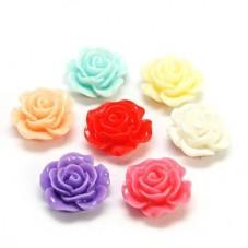 10 Cabochons Fleur Rose en Résine Multicolore 14mm
