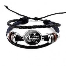 """Bracelet Ajustable """"Je t'aime maman..."""" Cadeau Maman Fête des Mères"""
