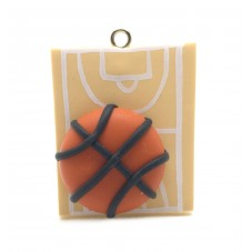 Breloque Sport Basket en Fimo 30mm