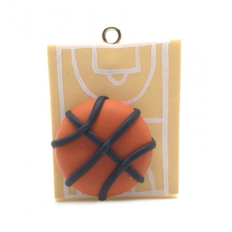 Breloque Sport Basket en Fimo 30mm