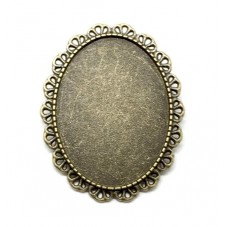 Support Broche Bronze pour Cabochon 30x40mm