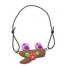 Bracelet Élastique Ajustable Oiseaux en Fimo