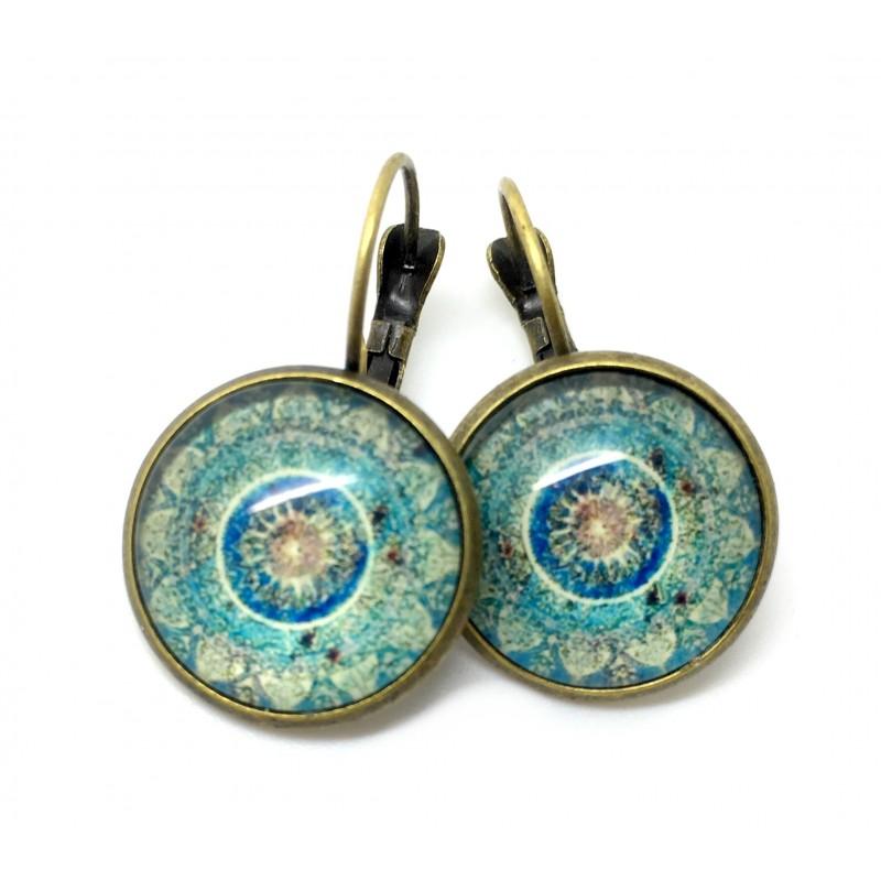 Boucles d'Oreilles en Métal Bronze avec Cabochon 18mm