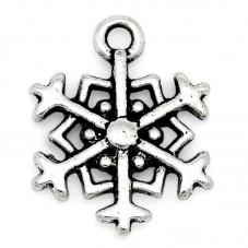 5 Breloques Flocon de Neige Argenté 18x14mm pour la Création de Bijoux Fantaisie - DIY