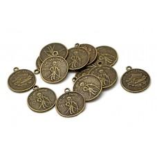 2 Breloques Médaille Petit Garçon Bronze 19mm pour la Création de Bijoux Fantaisie - DIY