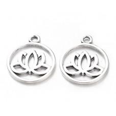 5 Breloques Fleur de Lotus Argentée 24mm