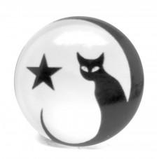 Cabochon en Verre Illustré Chat Noir et Blanc 25mm pour la Création de Bijoux Fantaisie - DIY