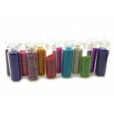 12 Fioles de Microbilles Assortiment de Couleurs pour la Création de Bijoux Fantaisie - DIY