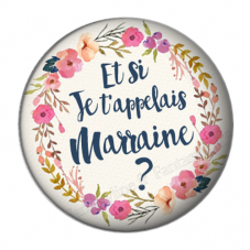 """Cabochon en Résine à Coller """"Et si je t'appelais Marraine?"""" 25mm"""