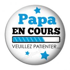 """Cabochon en Résine à Coller """"Papa en cours..."""" 25mm pour la Création de Bijoux Fantaisie - DIY"""