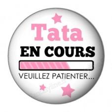 """Cabochon en Résine à Coller """"Tata en cours..."""" 25mm pour la Création de Bijoux Fantaisie - DIY"""