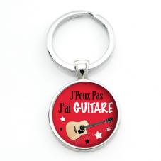 """Porte-clé """"J'peux pas j'ai guitare"""" Cadeau Original Anniversaire"""