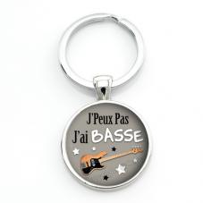 """Porte-clé """"J'peux pas j'ai Basse"""" Cadeau Original Humour Anniversaire Noël"""