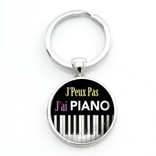 """Porte-clé """"J'peux pas j'ai piano"""" Cadeau Original Humour Anniversaire Noël"""