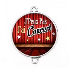 """Connecteur Cabochon en Résine """"J'peux pas j'ai concert"""" 25mm"""""""