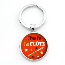 """Porte-clé """"J'peux pas j'ai Flûte"""" Cadeau Original Humour Anniversaire Noël"""
