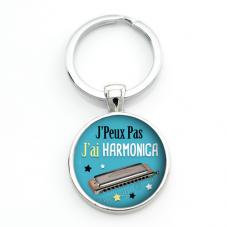 """Porte-clé """"J'peux pas j'ai Harmonica"""" Cadeau Original Humour Anniversaire Noël"""
