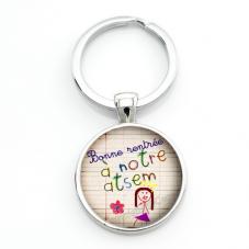 """Porte-clé """"Bonne Rentrée Atsem"""" Cadeau Original Début d'Année Scolaire"""