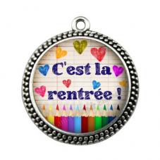 """Pendentif Cabochon en Résine """"C'est la rentrée!"""" 25mm"""
