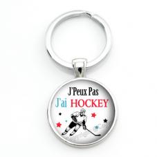 """Porte-clé """"J'peux pas j'ai hockey"""" Cadeau Original Humour Anniversaire Noël"""