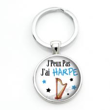 """Porte-clé """"J'peux pas j'ai Harpe"""" Cadeau Original Humour Anniversaire Noël"""