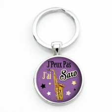 """Porte-clé """"J'peux pas j'ai Saxo"""" Cadeau Original Humour Anniversaire Noël"""