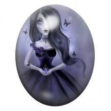 Cabochon en Verre Illustré Femme Papillons Gothique 13x18, 18x25 ou 30x40mm pour la Création de Bijoux Fantaisie - DIY