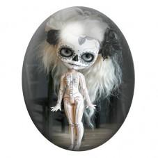 Cabochon en Verre Illustré Poupée Blythe Gothique 13x18, 18x25 ou 30x40mm pour la Création de Bijoux Fantaisie - DIY