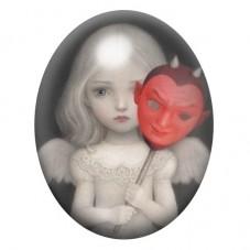 Cabochon en Verre Illustré Petite Fille Masque Étrange 13x18, 18x25 ou 30x40mm pour la Création de Bijoux Fantaisie - DIY