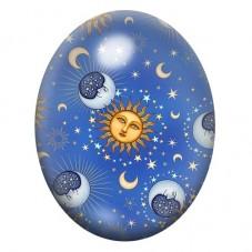 Cabochon en Verre Illustré Lune Soleil Étoiles 30x40mm
