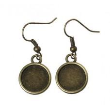 1 Paire de Support Boucles d'Oreilles Dormeuses Bronze pour Cabochon 12mm