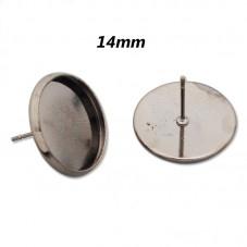 5 Paires de Support Boucle d'Oreille Gunmétal Puce Tige pour Cabochon 14mm