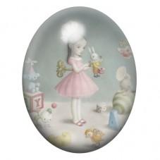 Cabochon en Verre Illustré Petite Fille Jouet Étrange 13x18, 18x25 ou 30x40mm pour la Création de Bijoux Fantaisie - DIY