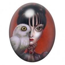 Cabochon en Verre Illustré Femme Chouette Étrange Gothique 30x40mm