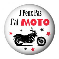 """Cabochon en Résine à Coller """"J'peux pas j'ai moto"""" 25mm"""
