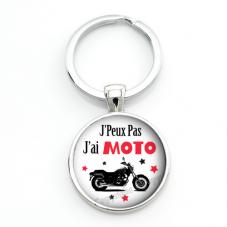 """Porte-clé """"J'peux pas j'ai Moto"""" Cadeau Original Humour Anniversaire Noël"""