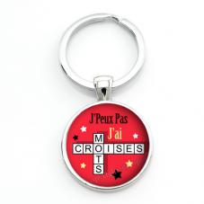 """Porte-clé """"J'peux pas j'ai mots croisés"""" Cadeau Original Humour Anniversaire Noël"""