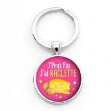 """Porte-clé """"J'peux pas j'ai Raclette"""" Cadeau Original Humour Anniversaire Noël"""