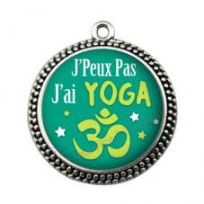"""Pendentif Cabochon en Résine """"J'peux pas j'ai yoga"""" 25mm"""
