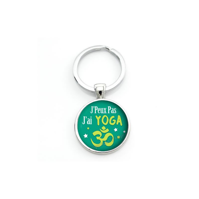 """Porte-clé """"J'peux pas j'ai yoga"""" Cadeau Original Humour Anniversaire Noël"""