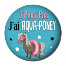 """Cabochon en Résine à Coller """"J'peux pas j'ai aqua-poney"""" 25mm"""