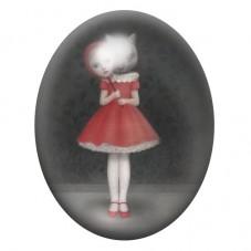 Cabochon en Verre Illustré Petit Chaperon Rouge Étrange 13x18, 18x25 ou 30x40mm pour la Création de Bijoux Fantaisie - DIY