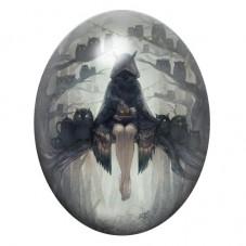 Cabochon en Verre Illustré Femme Hiboux Gothique 13x18, 18x25 ou 30x40mm pour la Création de Bijoux Fantaisie - DIY