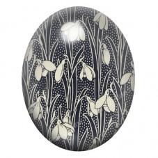 Cabochon en Verre Illustré Fleur 13x18, 18x25 ou 30x40mm pour la Création de Bijoux Fantaisie - DIY