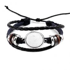 Support Bracelet Ajustable en Cuir pour Cabochon 20mm pour la Création de Bijoux Fantaisie - DIY
