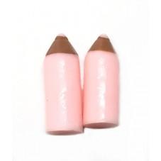 2 Cabochons Miniature Crayon Rose en Résine 18mm
