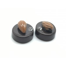 2 Cabochons Chocolat Amande Strass en Résine 15mm